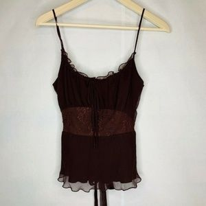 Betsy Johnson Cami Top Brown 100% Silk Lace 4